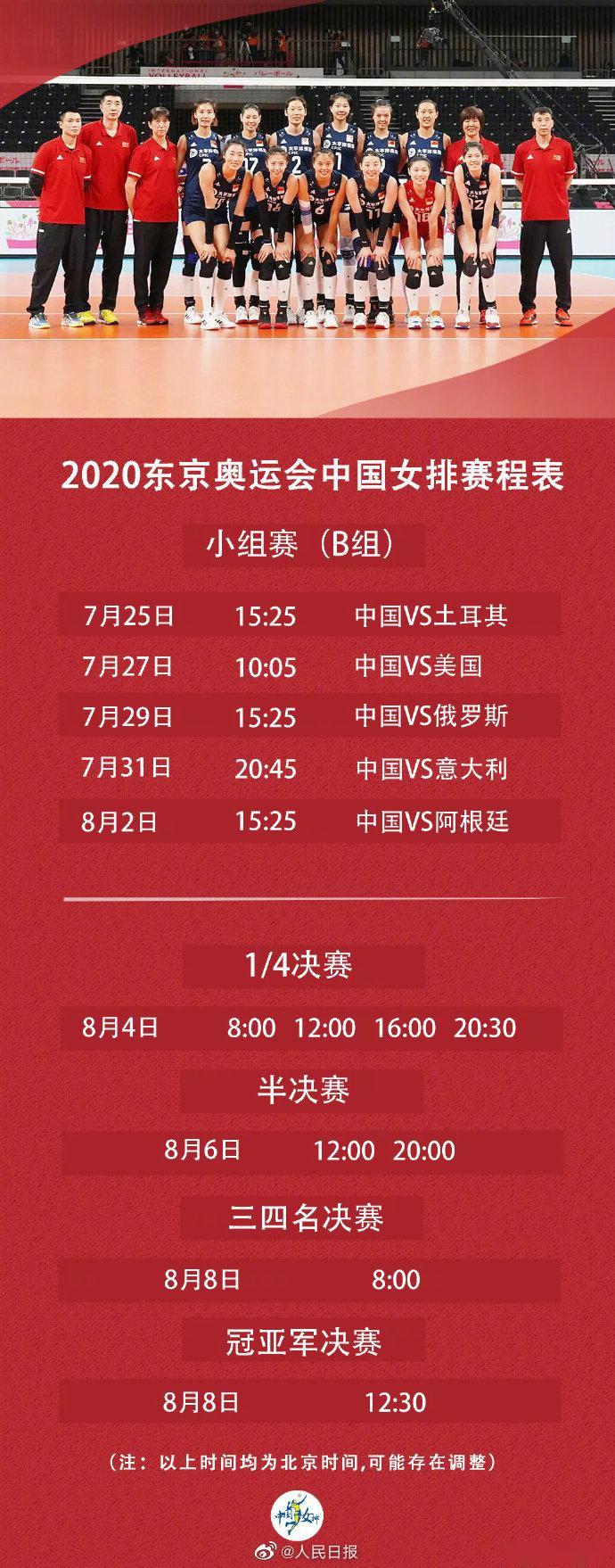 东京奥运会中国女排赛程表发布 首战对阵土耳其队