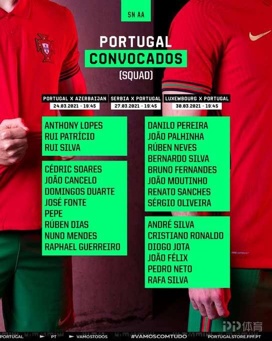 葡萄牙公布新一期国家队大名单:C罗领衔 B费菲利克斯入选