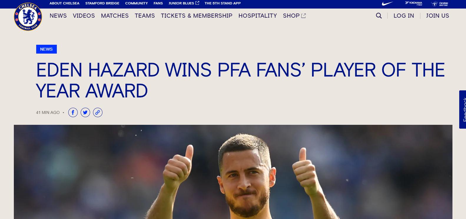 官方:进球助攻两双数据赢得赞许 阿扎尔当选PFA球迷评选最佳