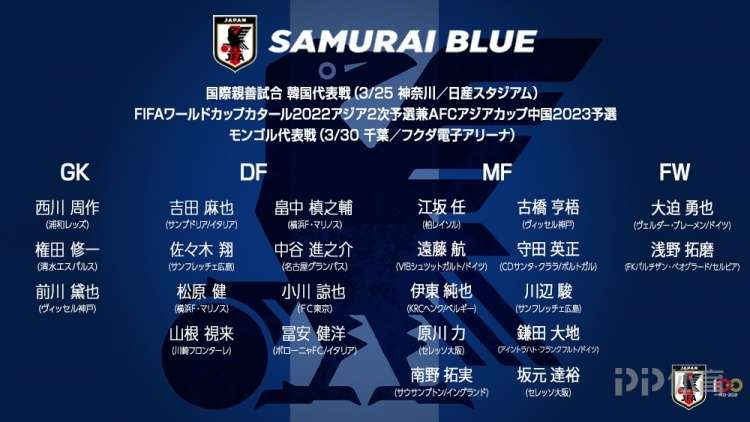 日本公布战韩国大名单:南野拓实镰田大地领衔 9名旅欧球员在列