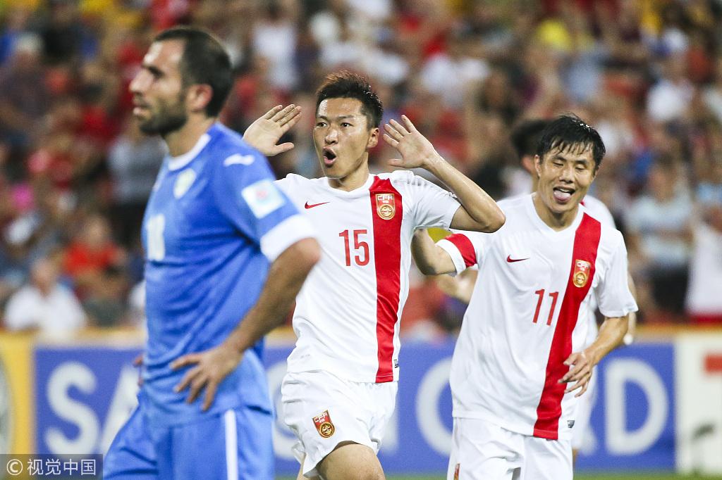 次战乌兹别克,国足由吴曦扳平比分。
