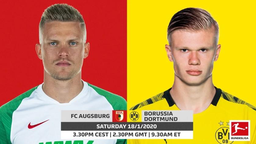 Xem lại Augsburg vs Dortmund, Bundesliga – 18/01/2020